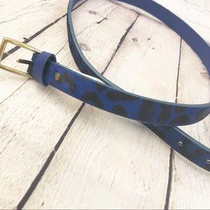 GAP BLUE LEOPARD PRINT FURRY SKINNY BELT NWT